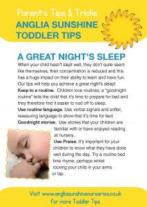 Anglia Sunshine Toddler Tips: A Great Night's Sleep